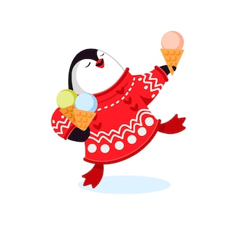Little funny penguin eats ice cream and holds a bag of ice cream. vector ,flat illustration, cartoon