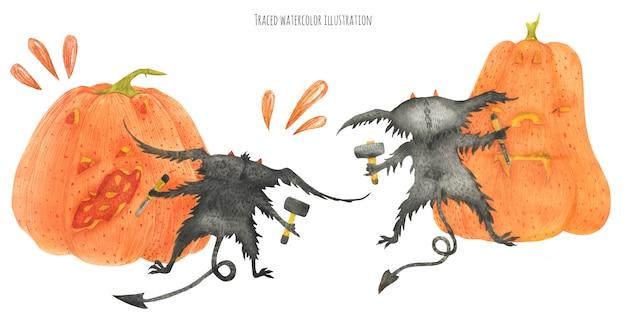 The little furry devils graving pumpkins