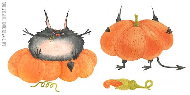 Little furry devils on the pumpkin field