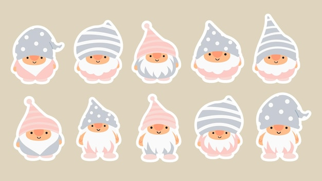 Little garden cute gnomes and elves in cartoon style. characteristic fairies for children and kids. kawaii gnome and magic elf design. vector illustration.