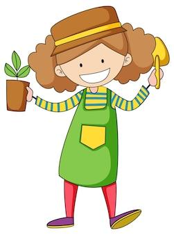 Маленький садовник каракули мультипликационный персонаж