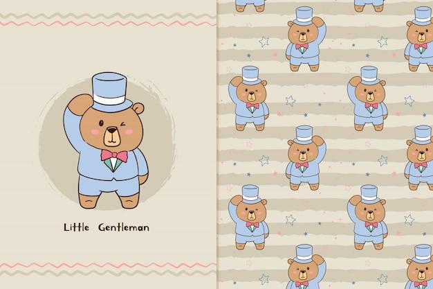 Little gentleman bear pattern
