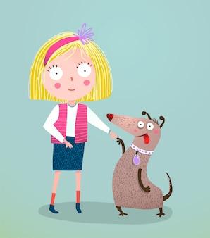 小さな女の子と犬