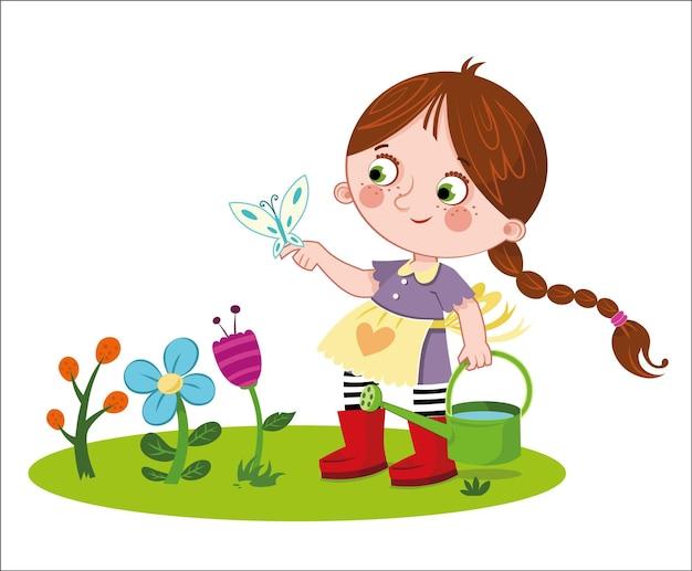 Маленькая девочка и цветы векторные иллюстрации