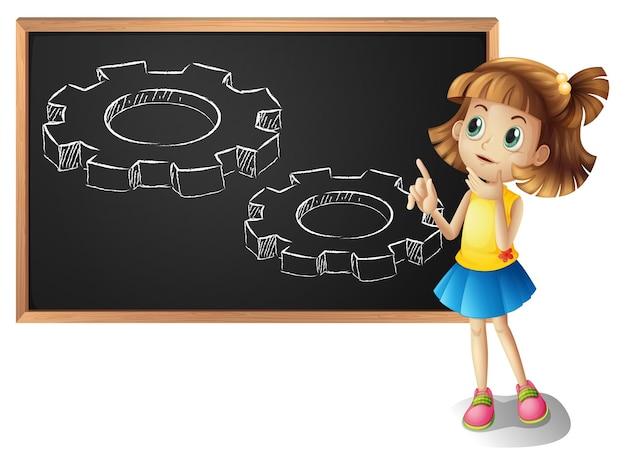小さな女の子と黒板の歯車