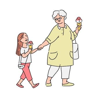 어린 소녀와 그녀의 할머니 산책 중 야외에서 아이스크림을 먹고, 흰색 바탕에 스케치 만화 스타일의 그림. 길거리 음식 개념.