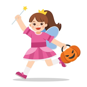 Little girl in angel costume with pumpkin basket for trick or treat on white background. happy halloween.