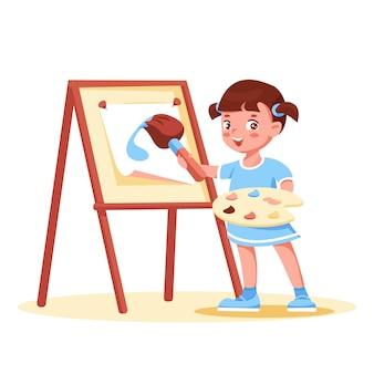 Little girl artist paints