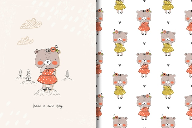 Little girl bear card and seamless pattern
