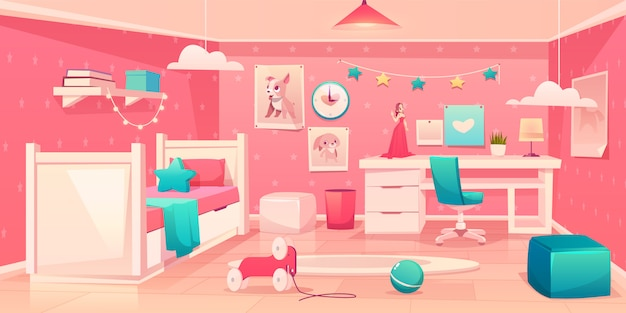 Little girl bedroom cozy interior cartoon