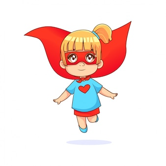 Little girl being flying superhero, blue tshirt and red cape with white background