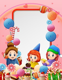 A little girl birthday party background illustration