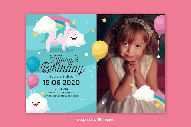 Little girl birthday party invitation template