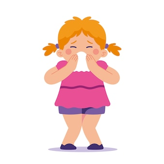 Little girl blowing her nose, sneezing