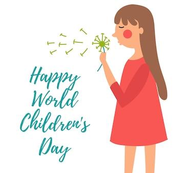 Little girl blows dandelion enjoys day childhood carefree world children day