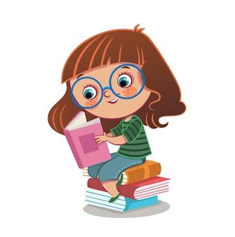 Little girl and books vector illustration
