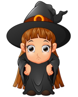 Little girl cartoon wearing witch costume