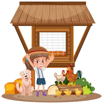 Little girl and chicken coop on white