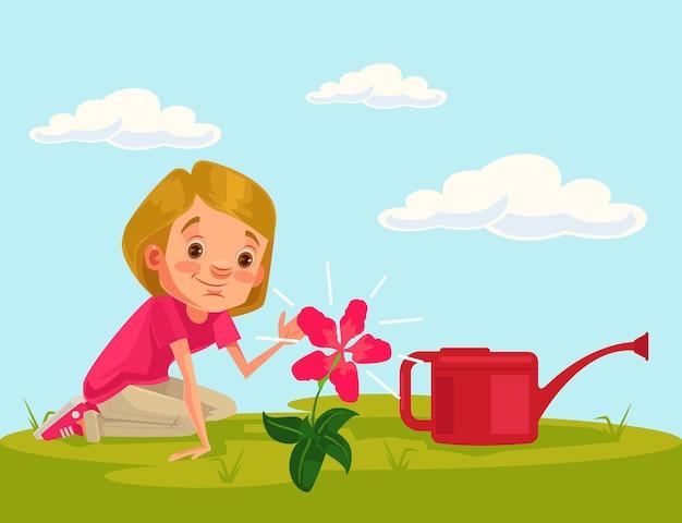 小さな女の子の子供のキャラクターは、花の植物を育てます。漫画