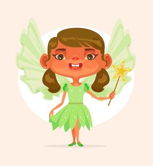 プリンセススーツの小さな女の子の子キャラクター。