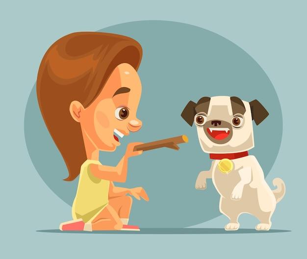 小さな女の子の子供キャラクタートレーニング犬の子犬のキャラクターと骨。親友。漫画