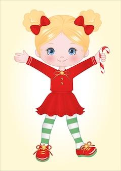 Little girl christmas clipart