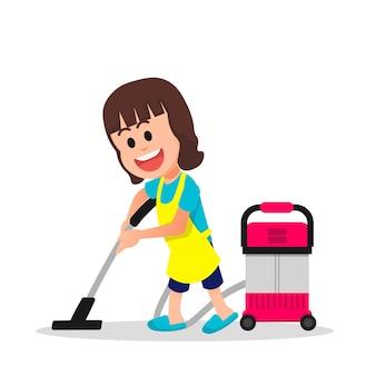 小さな女の子が掃除機で床のほこりを掃除します