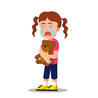Little girl crying while holding a teddy bear Premium Vector