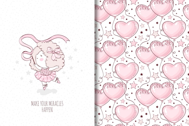 Little girl dancing illustration and seamless pattern with balloon