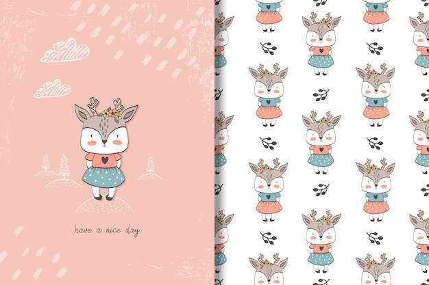 Little girl deer card and seamless pattern