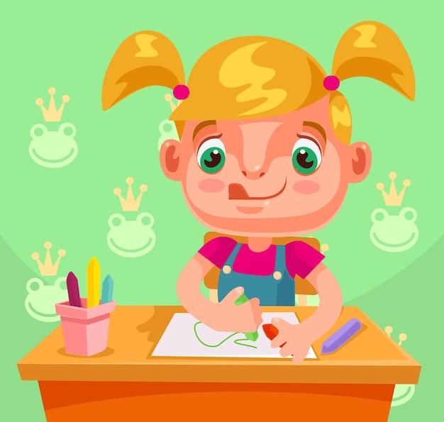 Рисование маленькой девочки. мультфильм