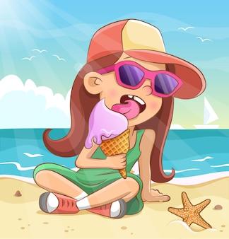 와플 콘에 아이스크림을 먹는 어린 소녀. 선글라스에 멋진 아이
