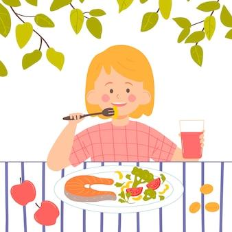 Маленькая девочка ест обед концепция здорового питания векторные иллюстрации персонаж в мультяшном стиле