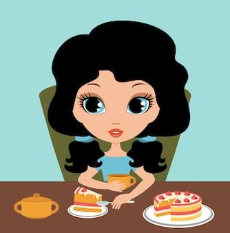 Little girl eats a pie