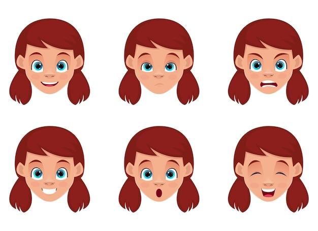 Маленькая девочка выражение лица дизайн иллюстрации изолированные Premium векторы