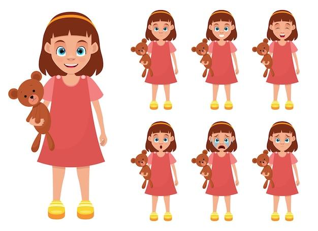 Маленькая девочка выражение лица дизайн иллюстрации изолированные