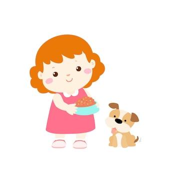 Little girl feeding dog cartoon