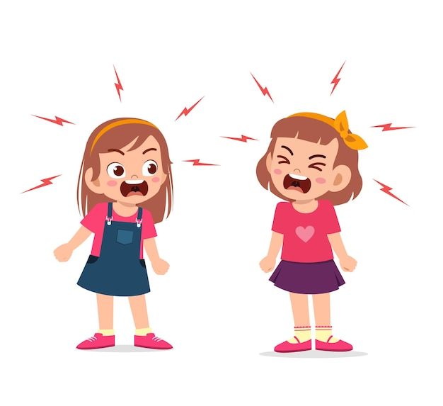Little girl fight and argue with her friend