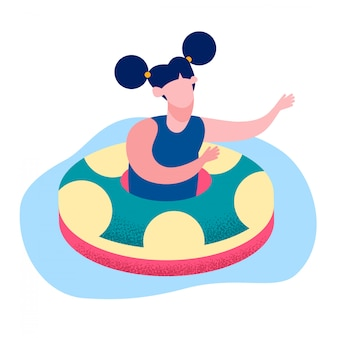 Little girl floating ring flat vector illustration