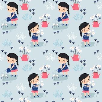 Little girl and flower seamless pattern