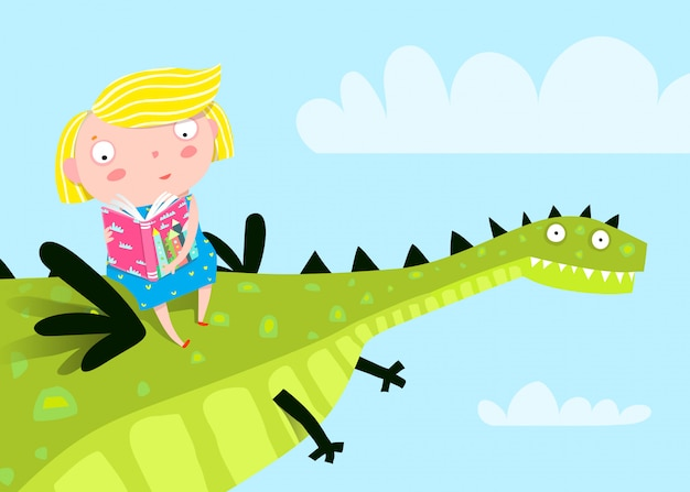 本を読んでドラゴンを飛ぶ少女。