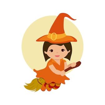 Маленькая девочка, летающая с метлой