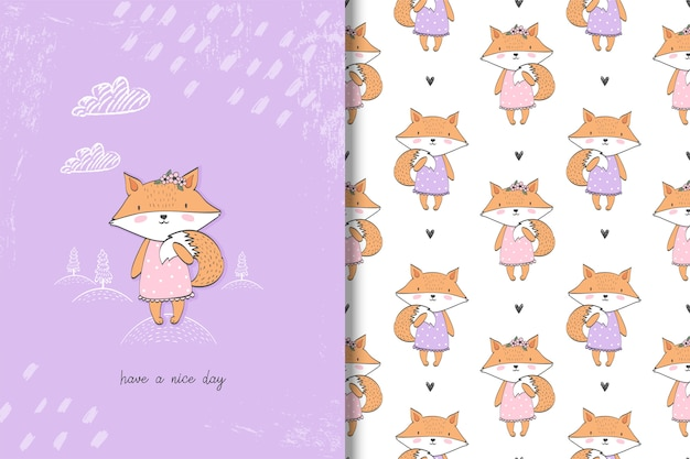 Little girl fox card and seamless pattern