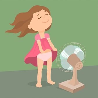 Little girl in front of a fan with flying hair