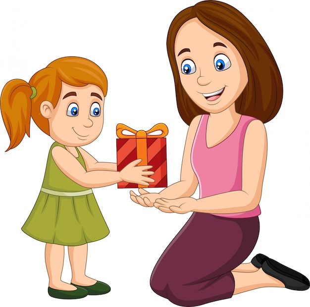 Little girl giving a gift box to her mother