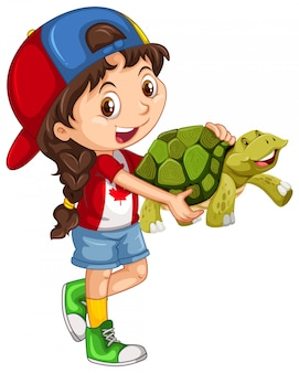 Little girl and green turtle