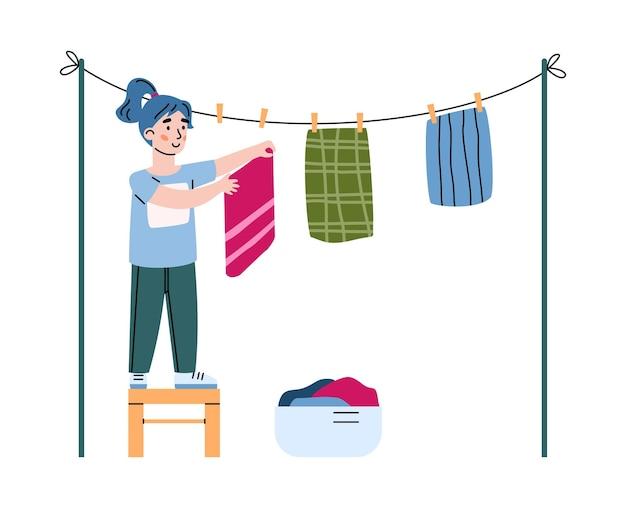 어린 소녀는 씻은 세탁 만화 그림을 끊습니다.