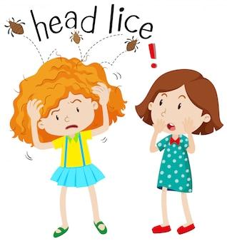 頭のシラミを持つ少女