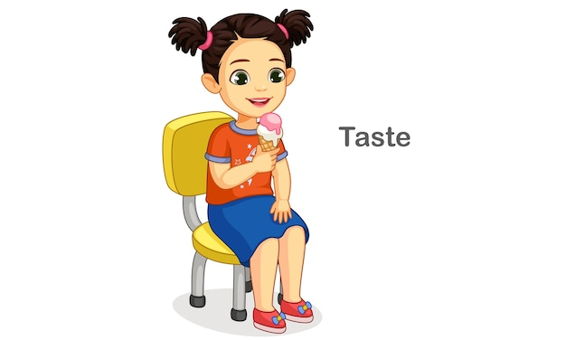 Little girl having ice cream showing a taste sense illustration