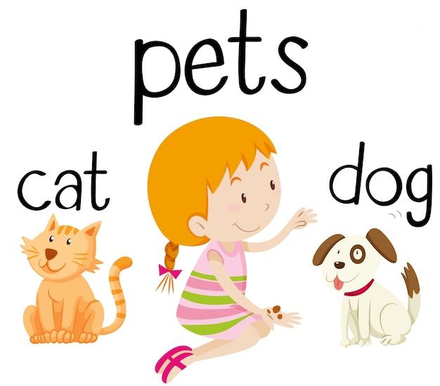 Bambina e la sua illustrazione animali